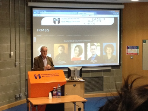 Prof Paul Conway (UL) delivering his talk at IRMSS2014